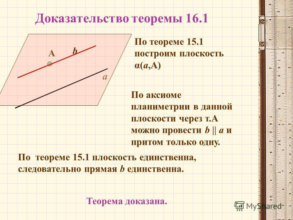 Доказательство теоремы 16.1 а А По теореме 15.1 построим плоскость α(а,А) По аксиоме планиметрии в данной плоскости через т.А можно провести b || a и притом только одну. b По теореме 15.1 плоскость единственна, следовательно прямая b единственна. Тео