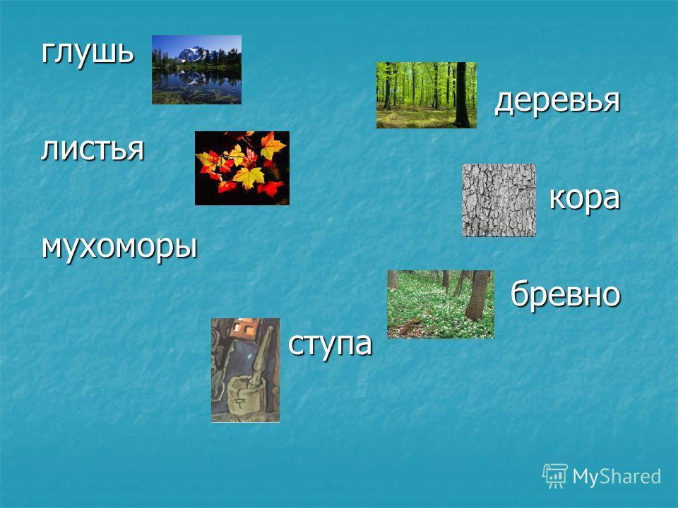 глушьдеревьялистьякорамухоморыбревноступа