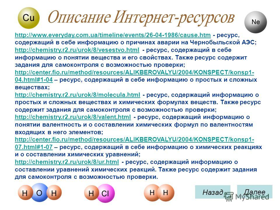 Назад Далее http://www.everyday.com.ua/timeline/events/26-04-1986/cause.htmhttp://www.everyday.com.ua/timeline/events/26-04-1986/cause.htm - ресурс, содержащий в себе информацию о причинах аварии на Чернобыльской АЭС; http://chemistry.r2.ru/urok/8/ve