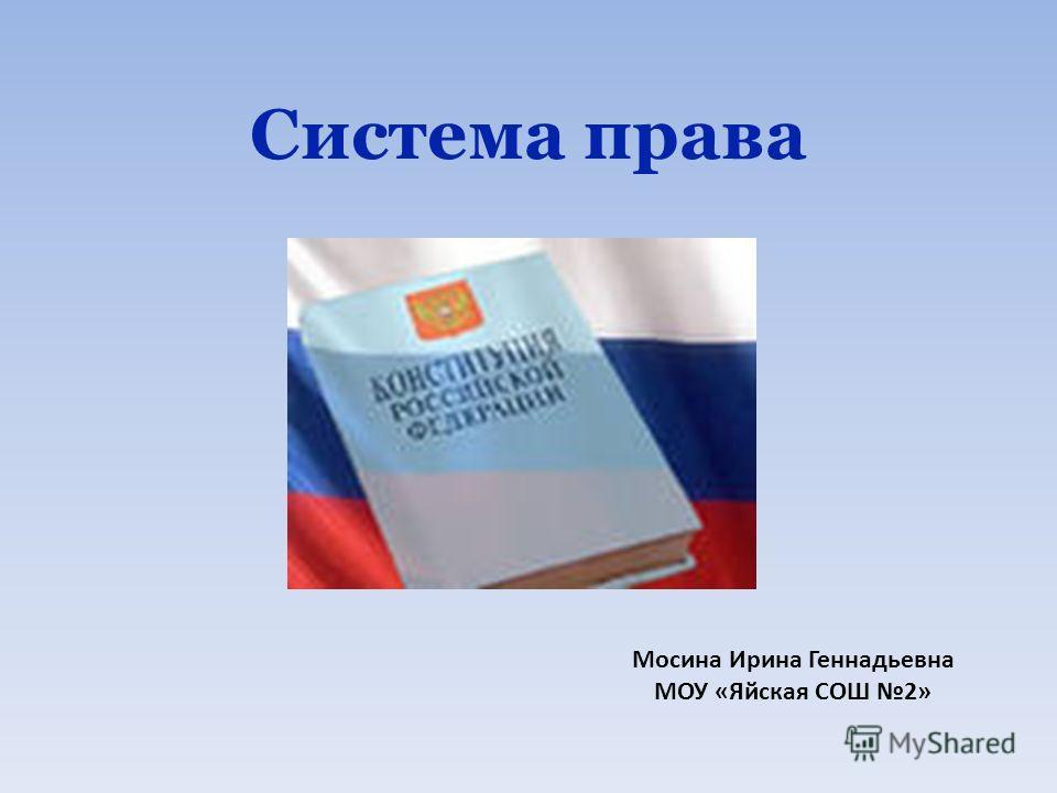 Система права Мосина Ирина Геннадьевна МОУ «Яйская СОШ 2»
