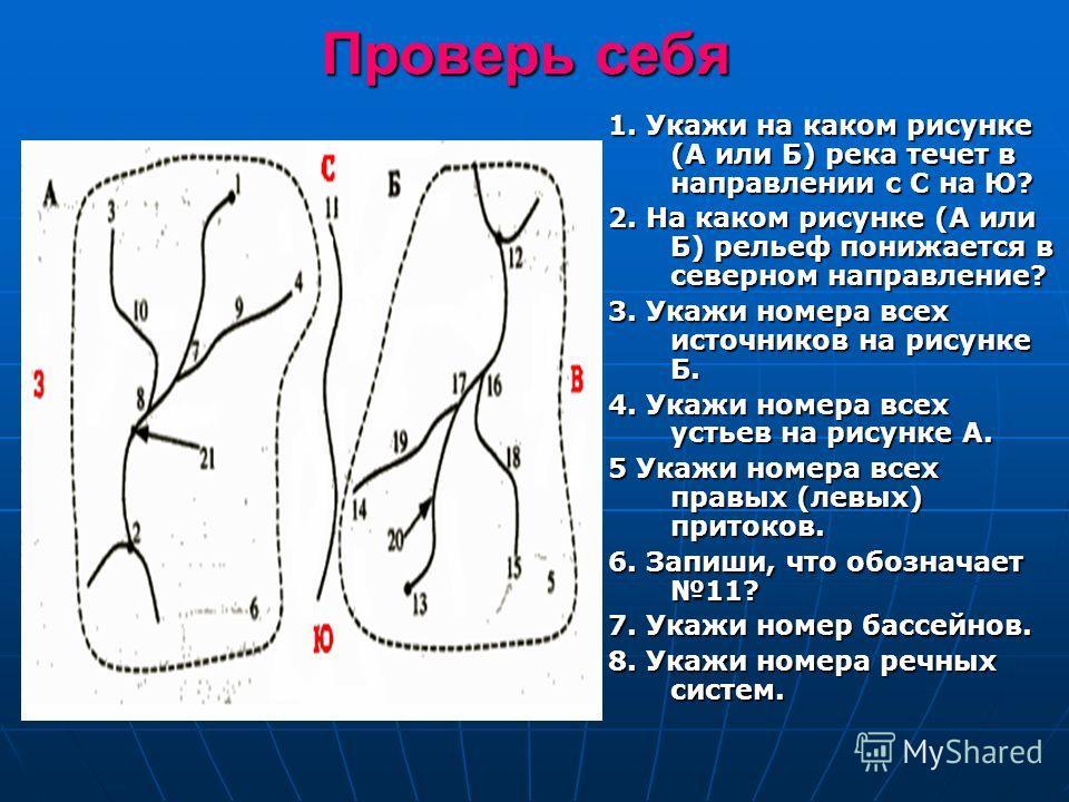 Проверь себя 1. Укажи на каком рисунке (А или Б) река течет в направлении с С на Ю? 2. На каком рисунке (А или Б) рельеф понижается в северном направление? 3. Укажи номера всех источников на рисунке Б. 4. Укажи номера всех устьев на рисунке А. 5 Укаж