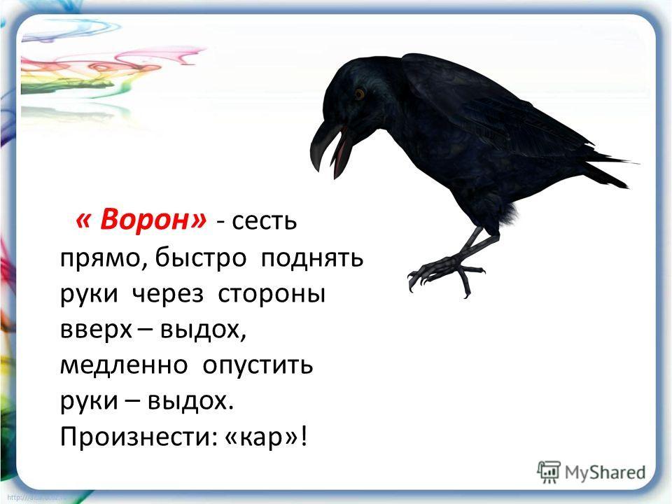 « Ворон» - сесть прямо, быстро поднять руки через стороны вверх – выдох, медленно опустить руки – выдох. Произнести: «кар»!