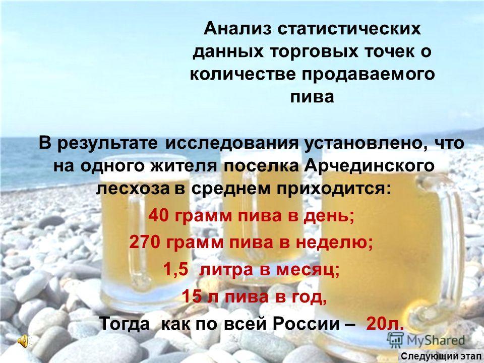 Анализ статистических данных торговых точек о количестве продаваемого пива В результате исследования установлено, что на одного жителя поселка Арчединского лесхоза в среднем приходится: 40 грамм пива в день; 270 грамм пива в неделю; 1,5 литра в месяц