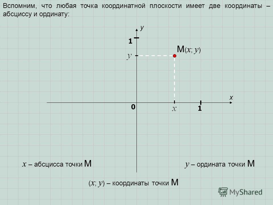 x y 1 0 1 Вспомним, что любая точка координатной плоскости имеет две координаты – абсциссу и ординату: y – ордината точки M x – абсцисса точки M M ( x ; y ) ( x ; y ) – координаты точки M