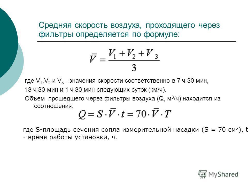 Средняя скорость воздуха, проходящего через фильтры определяется по формуле: где V 1,V 2 и V 3 - значения скорости соответственно в 7 ч 30 мин, 13 ч 30 мин и 1 ч 30 мин следующих суток (км/ч). Объем прошедшего через фильтры воздуха (Q, м 3 /ч) находи