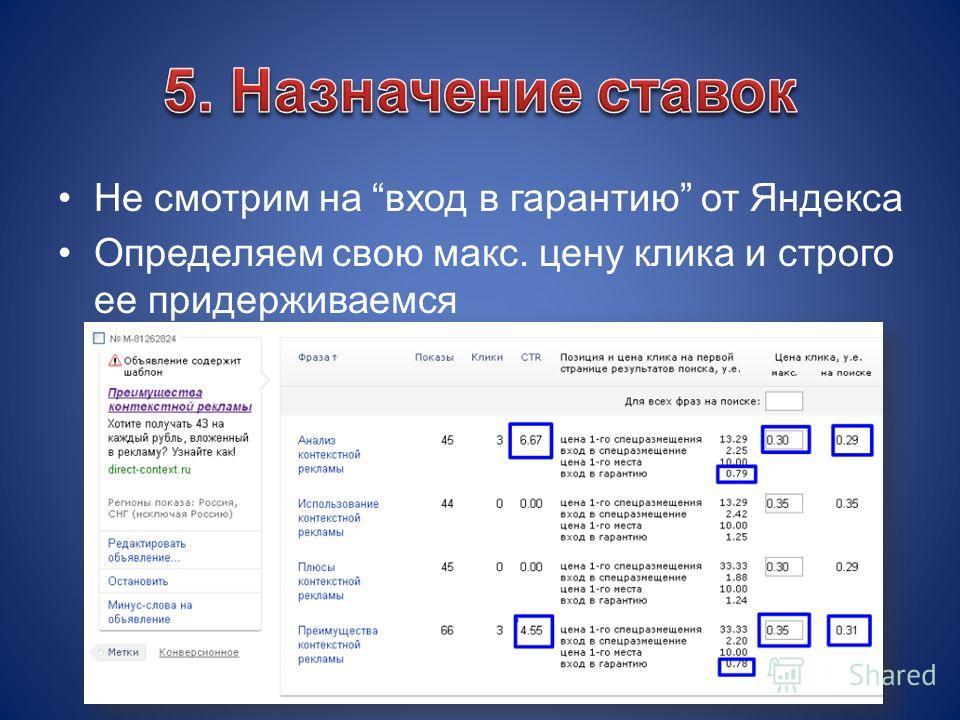 Не смотрим на вход в гарантию от Яндекса Определяем свою макс. цену клика и строго ее придерживаемся