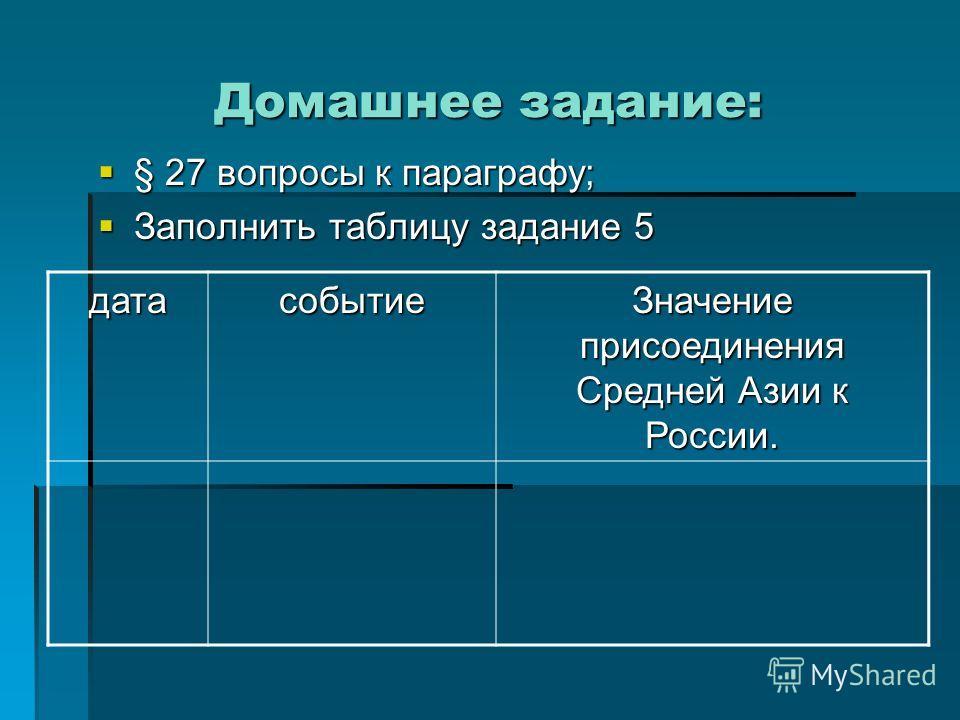 Домашнее задание: § 27 вопросы к параграфу; § 27 вопросы к параграфу; Заполнить таблицу задание 5 Заполнить таблицу задание 5 датасобытие Значение присоединения Средней Азии к России.