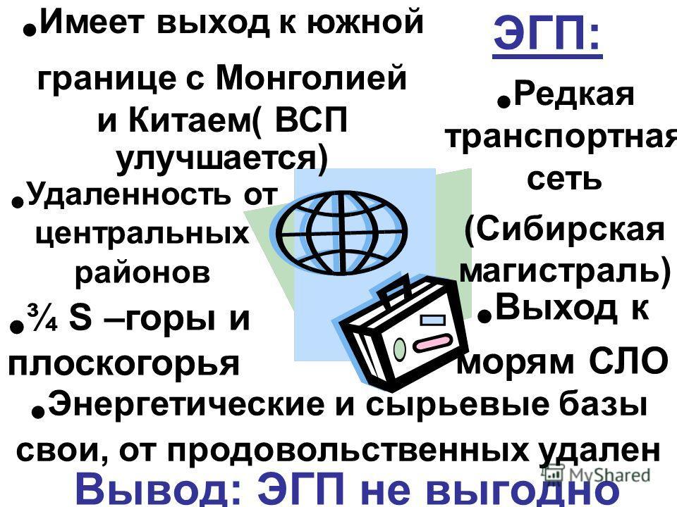 ЭГП: Вывод: ЭГП не выгодно Удаленность от центральных районов ¾ S –горы и плоскогорья Имеет выход к южной границе с Монголией и Китаем( ВСП улучшается) Редкая транспортная сеть (Сибирская магистраль) Выход к морям СЛО Энергетические и сырьевые базы с