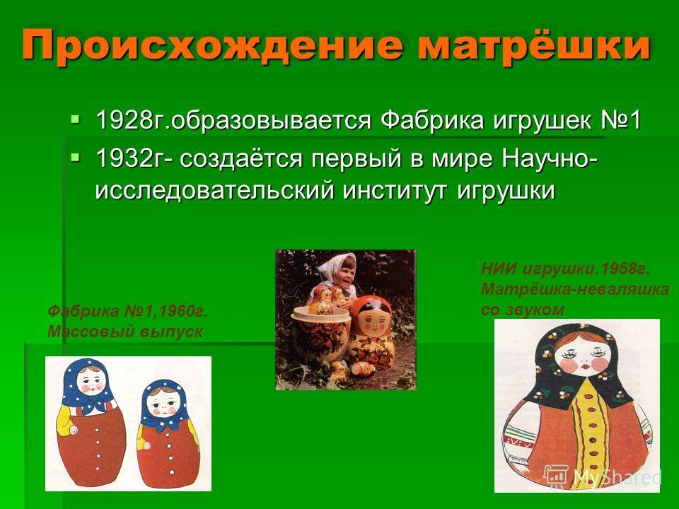 Происхождение матрёшки 1928г.образовывается Фабрика игрушек 1 1928г.образовывается Фабрика игрушек 1 1932г- создаётся первый в мире Научно- исследовательский институт игрушки 1932г- создаётся первый в мире Научно- исследовательский институт игрушки Н