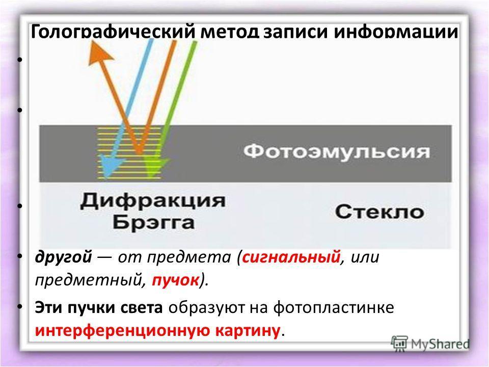 Голографический метод записи информации Голографический метод получения изображения предмета состоит из двух этапов. Сначала получают голограмму интерференционную картину, возникающую на фотопластинке при сложении Двух когерентных пучков света. Один