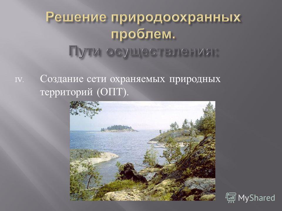 IV. Создание сети охраняемых природных территорий ( ОПТ ).