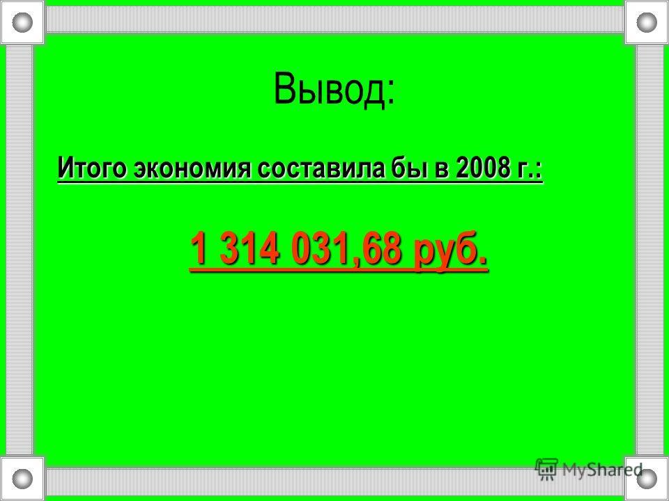 Вывод: Итого экономия составила бы в 2008 г.: 1 314 031,68 руб. 1 314 031,68 руб.