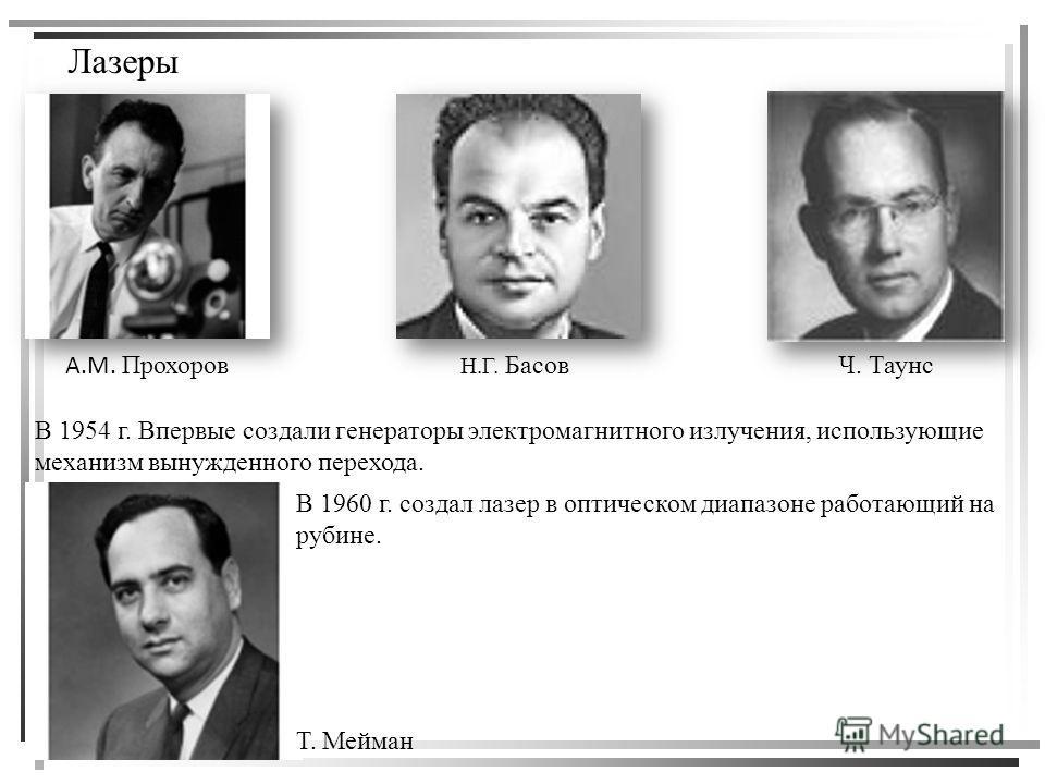Лазеры А.М. Прохоров Н.Г. БасовЧ. Таунс В 1954 г. Впервые создали генераторы электромагнитного излучения, использующие механизм вынужденного перехода. Т. Мейман В 1960 г. создал лазер в оптическом диапазоне работающий на рубине.