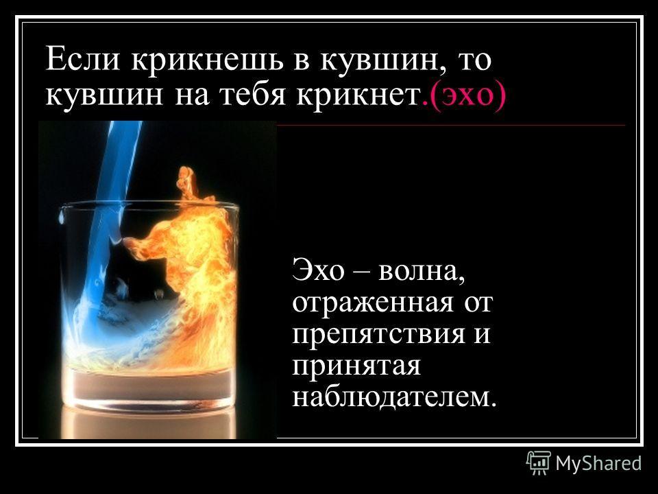 Если крикнешь в кувшин, то кувшин на тебя крикнет.(эхо) Эхо – волна, отраженная от препятствия и принятая наблюдателем.
