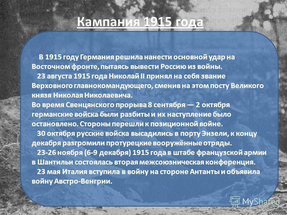 В 1915 году Германия решила нанести основной удар на Восточном фронте, пытаясь вывести Россию из войны. 23 августа 1915 года Николай II принял на себя звание Верховного главнокомандующего, сменив на этом посту Великого князя Николая Николаевича. Во в