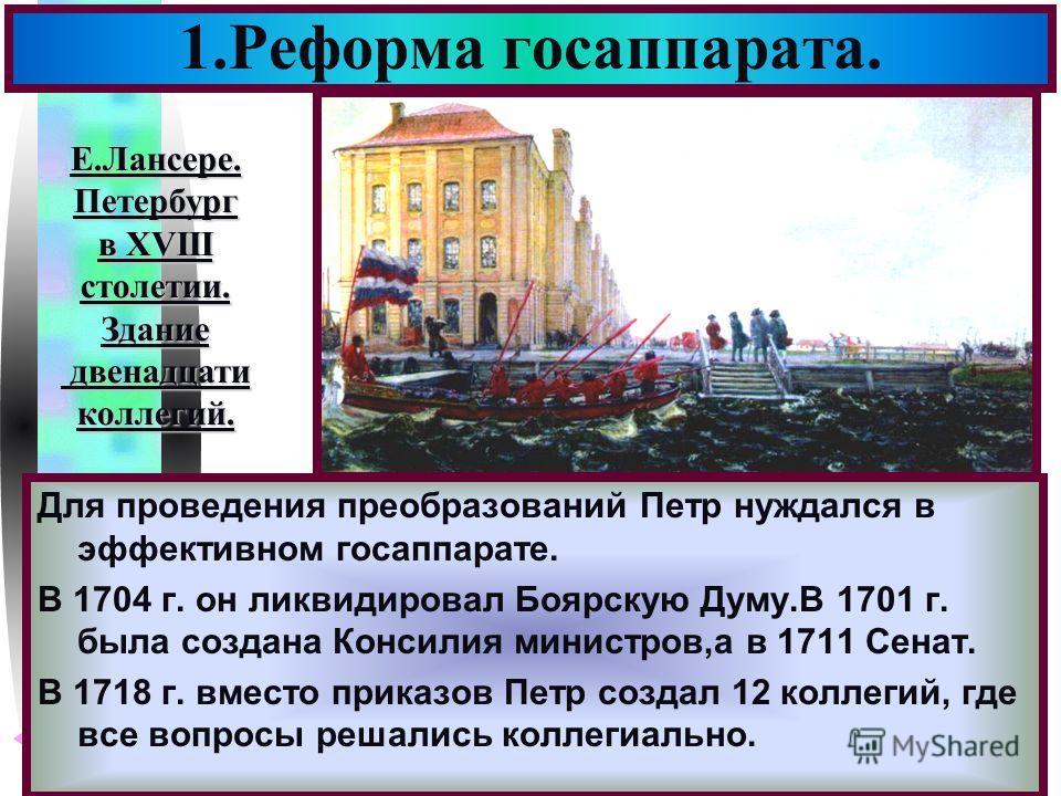 Меню 1.Реформа госаппарата. Для проведения преобразований Петр нуждался в эффективном госаппарате. В 1704 г. он ликвидировал Боярскую Думу.В 1701 г. была создана Консилия министров,а в 1711 Сенат. В 1718 г. вместо приказов Петр создал 12 коллегий, гд