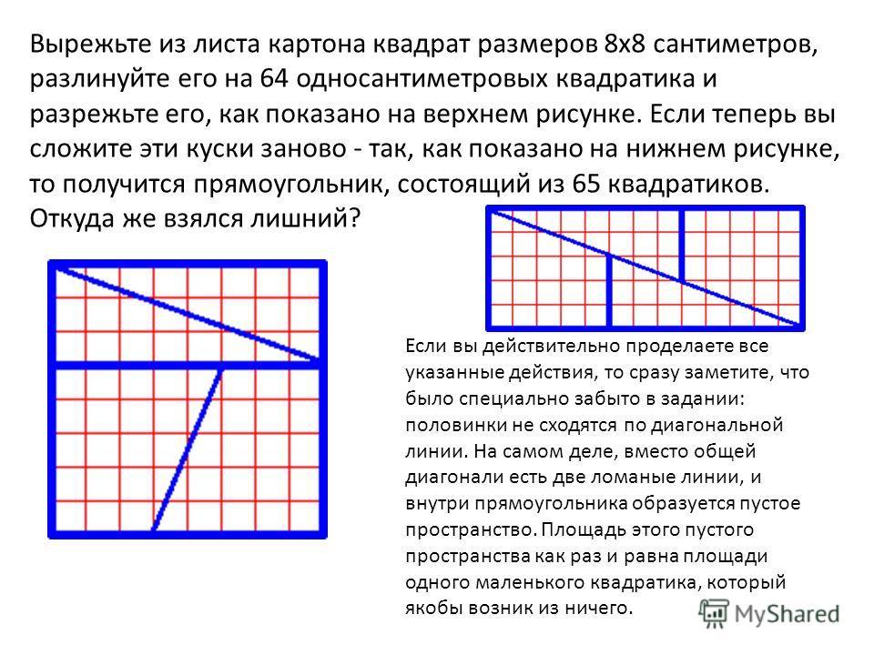 Вырежьте из листа картона квадрат размеров 8х8 сантиметров, разлинуйте его на 64 односантиметровых квадратика и разрежьте его, как показано на верхнем рисунке. Если теперь вы сложите эти куски заново - так, как показано на нижнем рисунке, то получитс