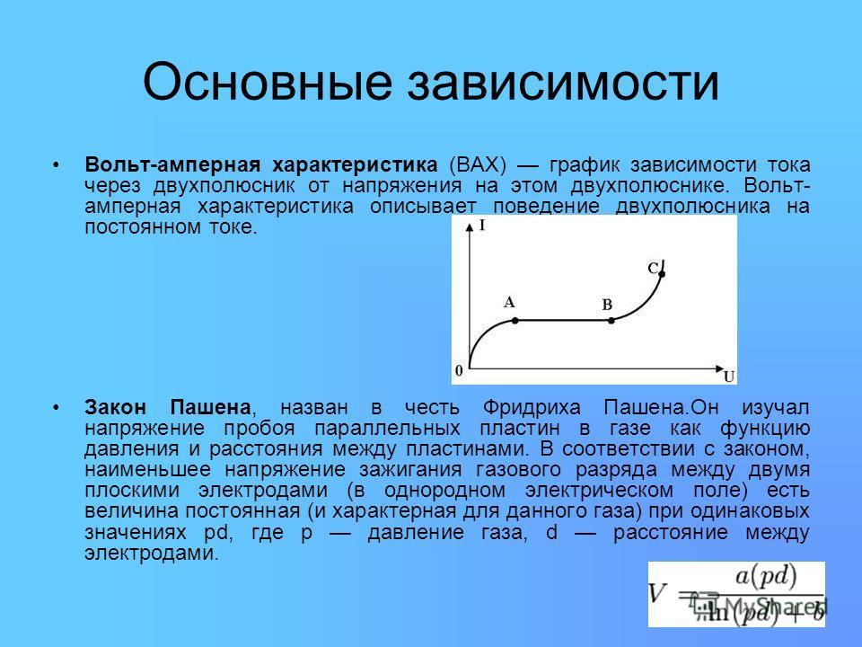 Основные зависимости Вольт-амперная характеристика (ВАХ) график зависимости тока через двухполюсник от напряжения на этом двухполюснике. Вольт- амперная характеристика описывает поведение двухполюсника на постоянном токе. Закон Пашена, назван в честь