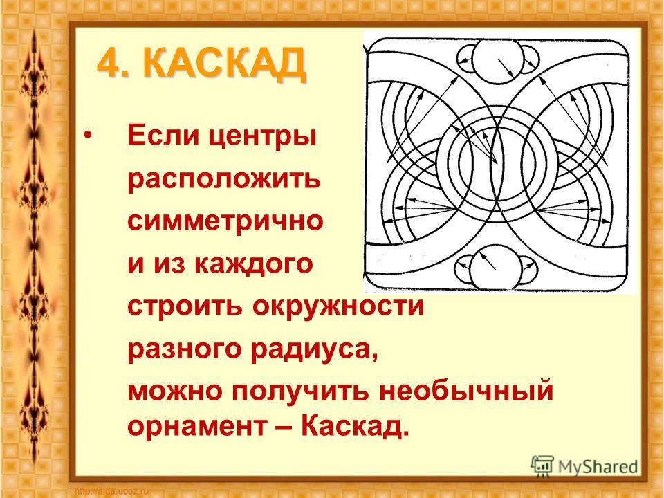 4. КАСКАД Если центры расположить симметрично и из каждого строить окружности разного радиуса, можно получить необычный орнамент – Каскад.