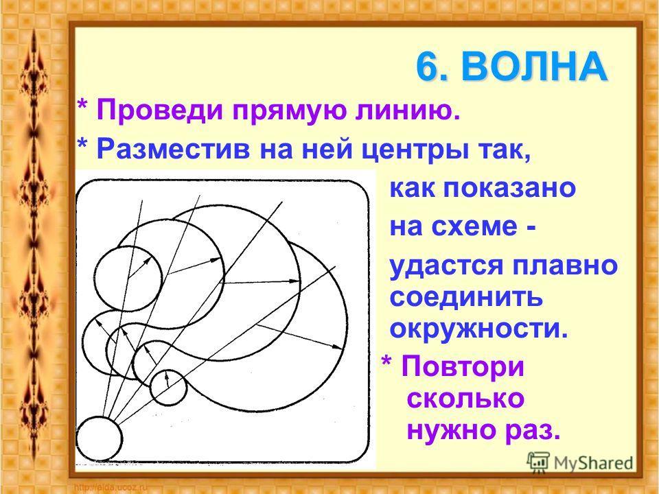 6. ВОЛНА * Проведи прямую линию. * Разместив на ней центры так, как показано на схеме - удастся плавно соединить окружности. * Повтори сколько нужно раз.