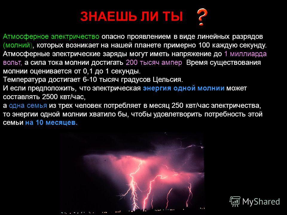 ЗНАЕШЬ ЛИ ТЫ Атмосферное электричество опасно проявлением в виде линейных разрядов (молний), которых возникает на нашей планете примерно 100 каждую секунду. Атмосферные электрические заряды могут иметь напряжение до 1 миллиарда вольт, а сила тока мол