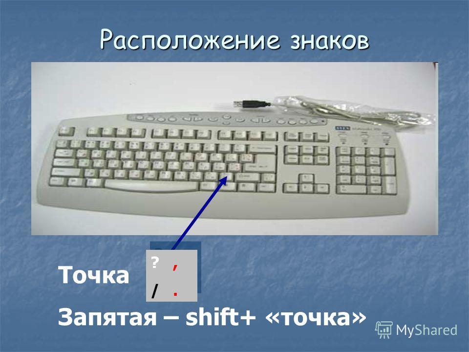 Расположение знаков препинания на клавиатуре Точка Запятая – shift+ «точка» ?, /. ?, /.
