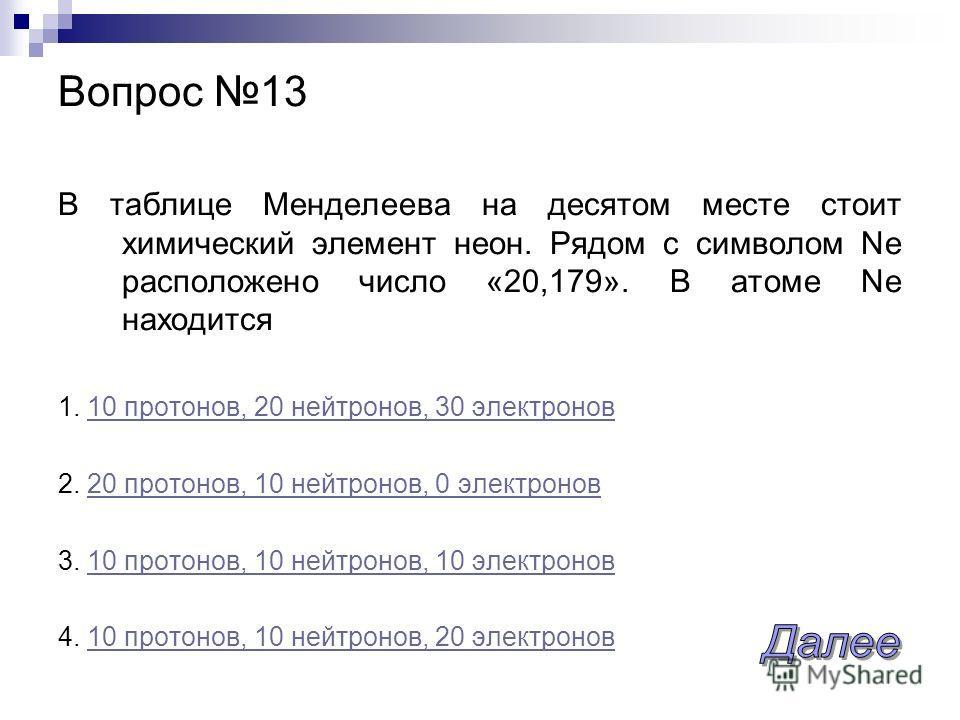 В таблице Менделеева на десятом месте стоит химический элемент неон. Рядом с символом Ne расположено число «20,179». В атоме Ne находится 1. 10 протонов, 20 нейтронов, 30 электронов10 протонов, 20 нейтронов, 30 электронов 2. 20 протонов, 10 нейтронов