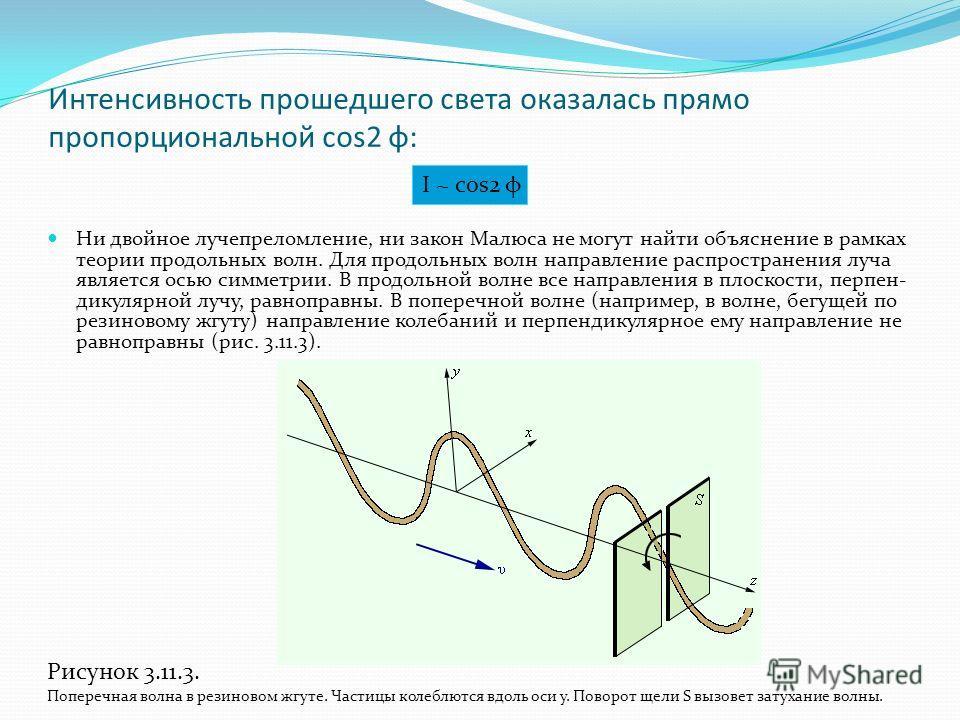 Интенсивность прошедшего света оказалась прямо пропорциональной cos2 φ: Ни двойное лучепреломление, ни закон Малюса не могут найти объяснение в рамках теории продольных волн. Для продольных волн направление распространения луча является осью симметри