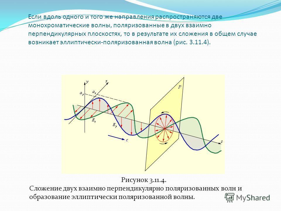 Если вдоль одного и того же направления распространяются две монохроматические волны, поляризованные в двух взаимно перпендикулярных плоскостях, то в результате их сложения в общем случае возникает эллиптически-поляризованная волна (рис. 3.11.4). Рис