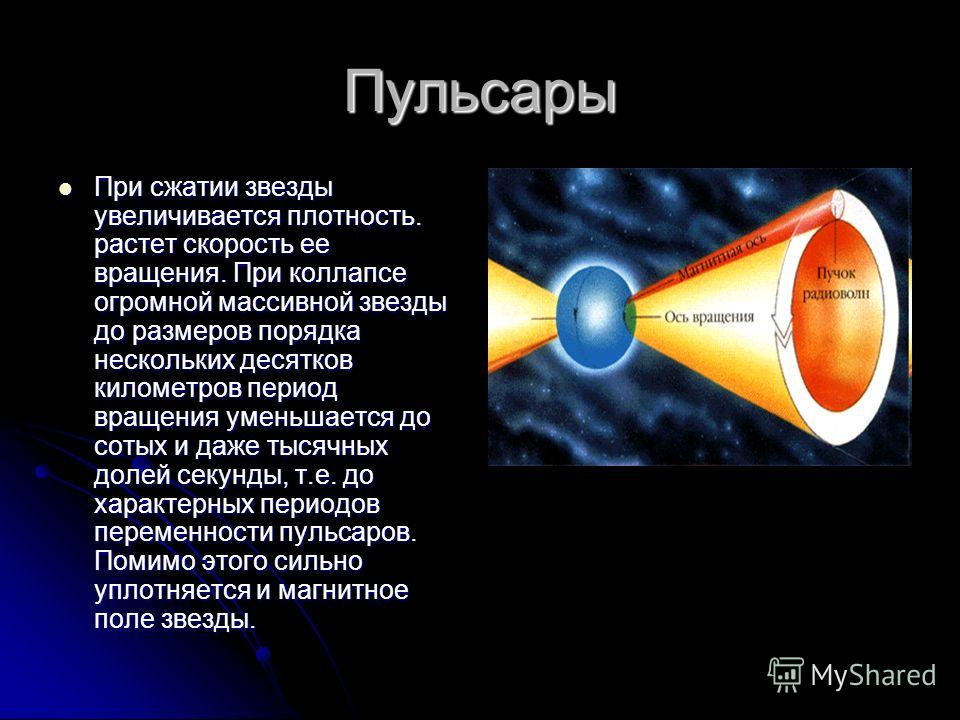 Типы звезд: пульсары ПУЛЬСАРЫ - космические источники импульсного электромагнитного излучения, открытые в 1967 группой Э. Хьюиша (Великобритания) ПУЛЬСАРЫ - космические источники импульсного электромагнитного излучения, открытые в 1967 группой Э. Хью