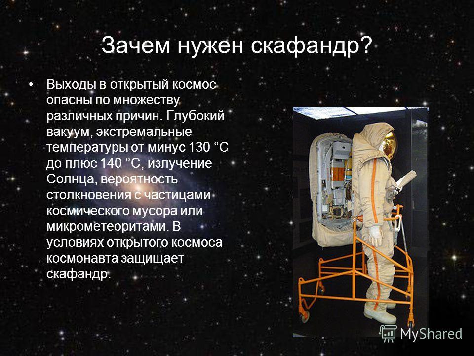 Зачем нужен скафандр? Выходы в открытый космос опасны по множеству различных причин. Глубокий вакуум, экстремальные температуры от минус 130 °С до плюс 140 °С, излучение Солнца, вероятность столкновения с частицами космического мусора или микрометеор