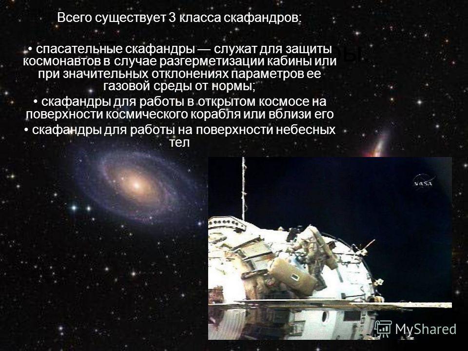 Первые скафандры. Всего существует 3 класса скафандров: спасательные скафандры служат для защиты космонавтов в случае разгерметизации кабины или при значительных отклонениях параметров ее газовой среды от нормы; скафандры для работы в открытом космос