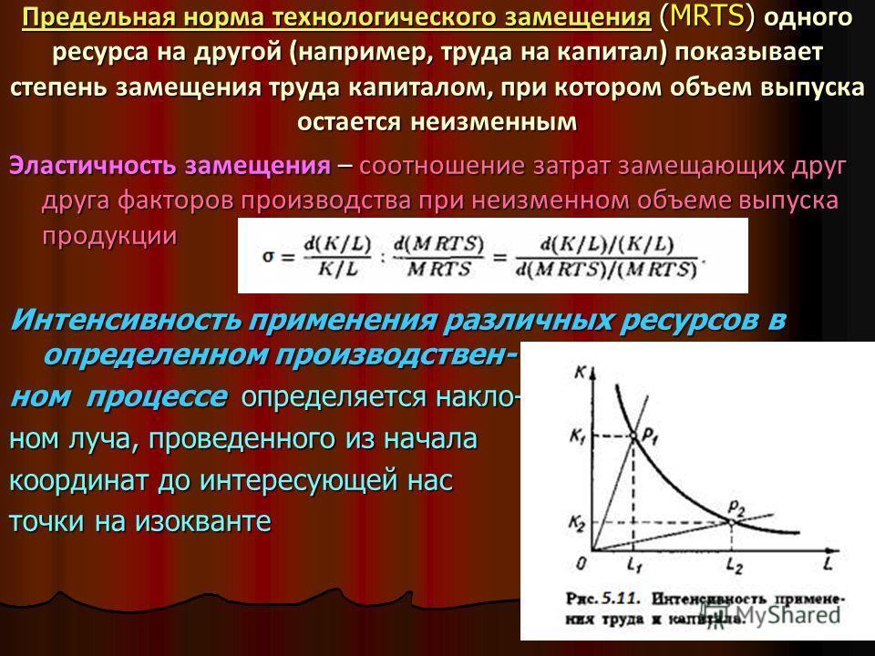 Предельная норма технологического замещенияПредельная норма технологического замещения (МRTS) одного ресурса на другой (например, труда на капитал) показывает степень замещения труда капиталом, при котором объем выпуска остается неизменным Предельная