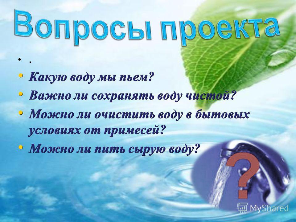 . Какую воду мы пьем? Какую воду мы пьем? Важно ли сохранять воду чистой? Важно ли сохранять воду чистой? Можно ли очистить воду в бытовых условиях от примесей? Можно ли очистить воду в бытовых условиях от примесей? Можно ли пить сырую воду? Можно ли