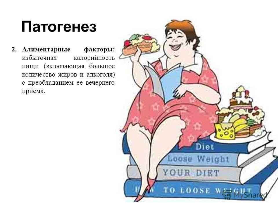 Патогенез 2.Алиментарные факторы : избыточная калорийность пищи ( включающая большое количество жиров и алкоголя ) с преобладанием ее вечернего приема.