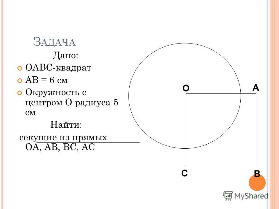 З АДАЧА Дано: OABC-квадрат AB = 6 см Окружность с центром O радиуса 5 см Найти: секущие из прямых OA, AB, BC, АС О А В С О