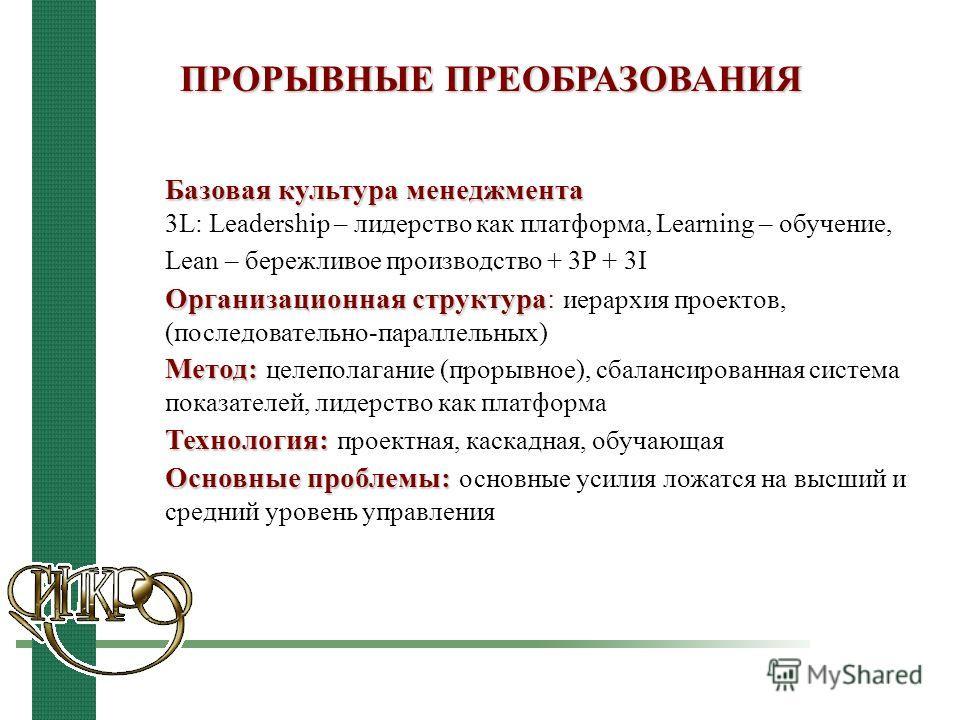 ПРОРЫВНЫЕ ПРЕОБРАЗОВАНИЯ Базовая культура менеджмента 3L: Leadership – лидерство как платформа, Learning – обучение, Lean – бережливое производство + 3P + 3I Организационная структура Организационная структура: иерархия проектов, (последовательно-пар