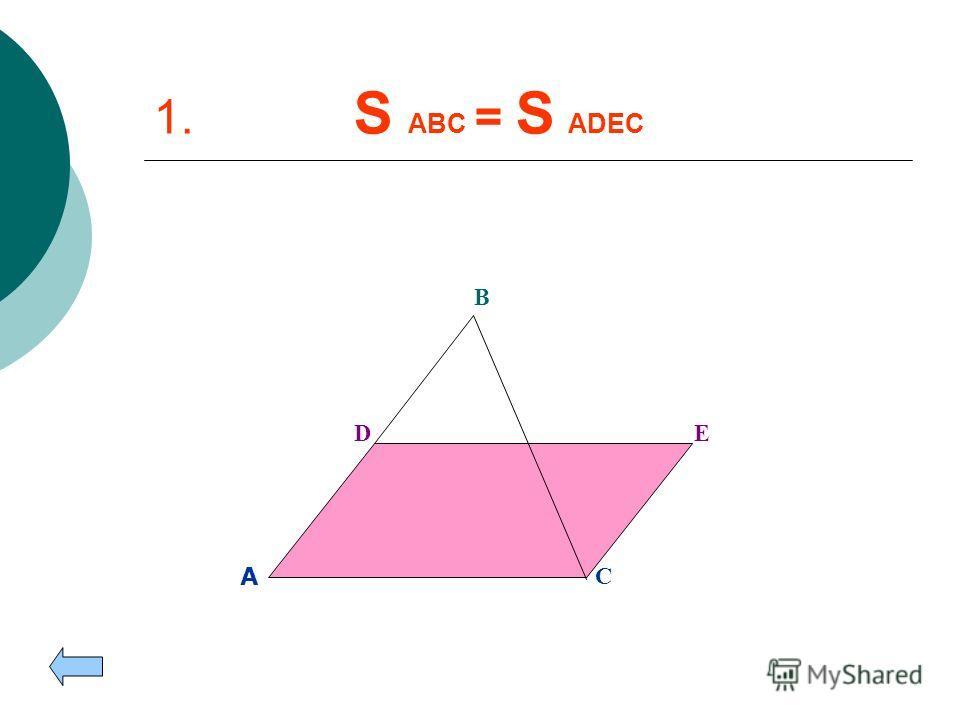 1. Параллелограмм, равновеликий данному треугольнику. Параллелограмм, равновеликий данному треугольнику. 2. Прямоугольник, равновеликий данному треугольнику. Прямоугольник, равновеликий данному треугольнику. 3. Равнобедренный треугольник, равновелики