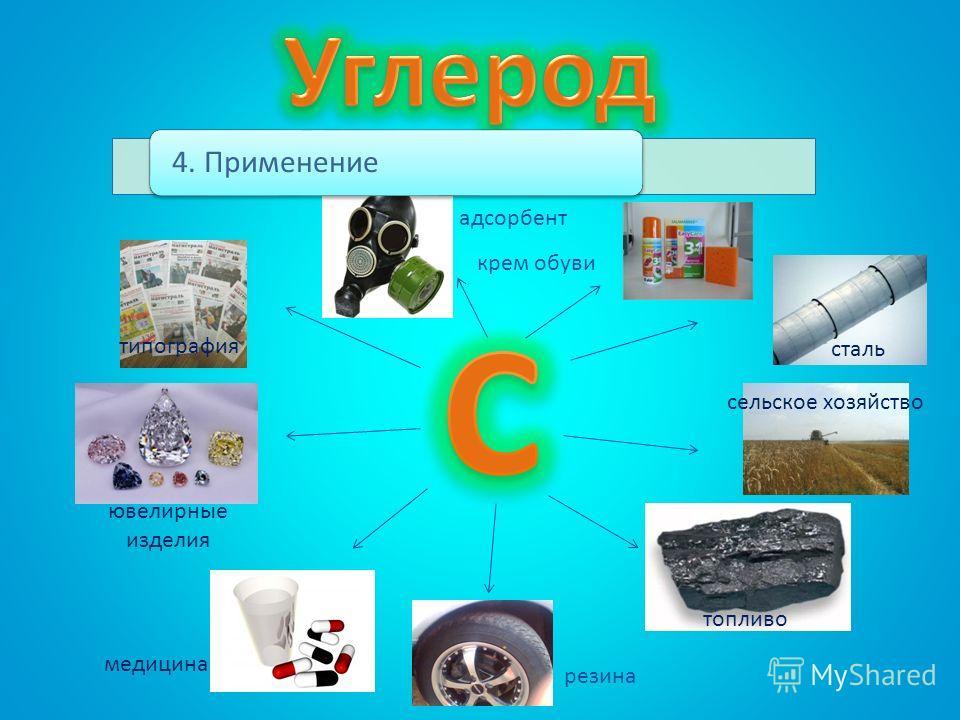 4. Применение сталь сельское хозяйство топливо медицина типография ювелирные изделия адсорбент резина крем обуви
