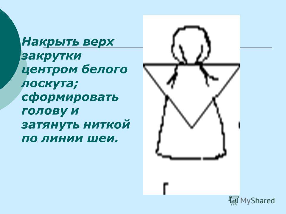 Накрыть верх закрутки центром белого лоскута; сформировать голову и затянуть ниткой по линии шеи.
