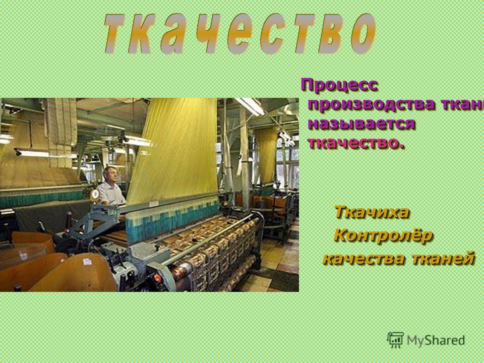 Процесс производства ткани называется ткачество. Процесс производства ткани называется ткачество. Ткачиха Ткачиха Контролёр Контролёр качества тканей качества тканей Процесс производства ткани называется ткачество. Процесс производства ткани называет