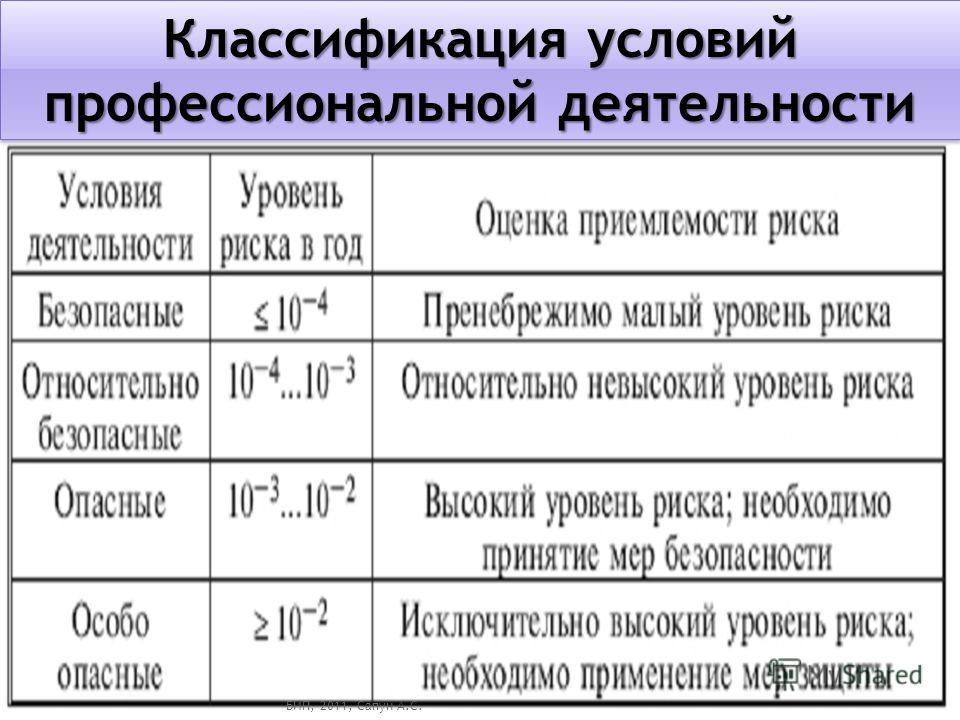 Классификация условий профессиональной деятельности БИП, 2011, Сапун А.С.