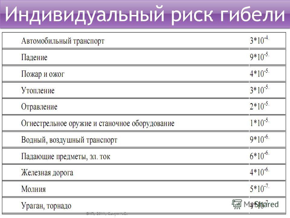 Индивидуальный риск гибели БИП, 2011, Сапун А.С.