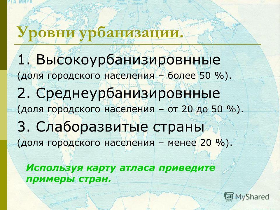 Уровни урбанизации. 1. Высокоурбанизировнные (доля городского населения – более 50 %). 2. Среднеурбанизировнные (доля городского населения – от 20 до 50 %). 3. Слаборазвитые страны (доля городского населения – менее 20 %). Используя карту атласа прив