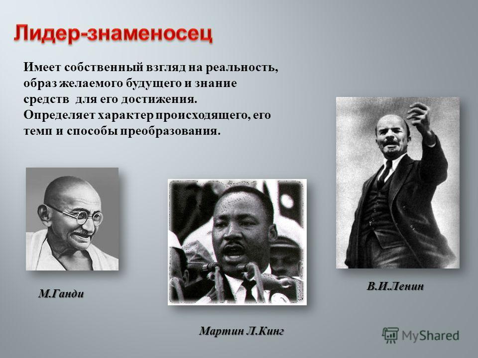 Имеет собственный взгляд на реальность, образ желаемого будущего и знание средств для его достижения. Определяет характер происходящего, его темп и способы преобразования. В. И. Ленин М. Ганди Мартин Л. Кинг