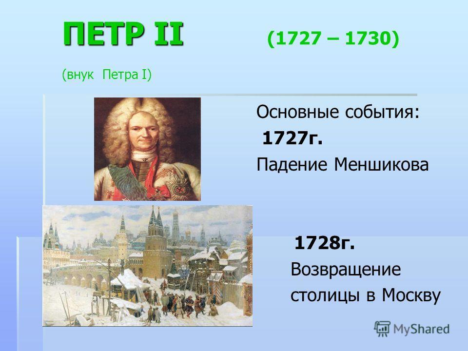 ПЕТР II ПЕТР II (1727 – 1730) (внук Петра I) Основные события: 1727г. Падение Меншикова 1728г. Возвращение столицы в Москву