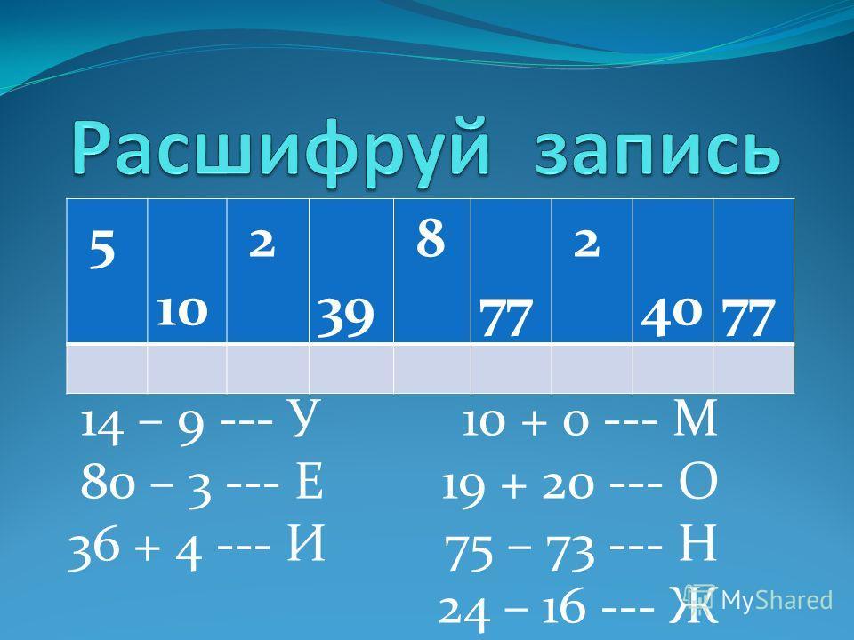 14 – 9 --- У 10 + 0 --- М 80 – 3 --- Е 19 + 20 --- О 36 + 4 --- И 75 – 73 --- Н 24 – 16 --- Ж 5 10 2 39 8 77 2 40 77