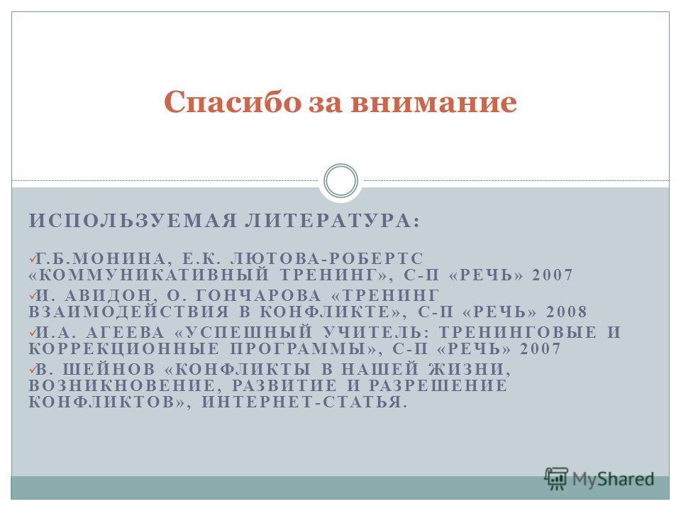 ИСПОЛЬЗУЕМАЯ ЛИТЕРАТУРА: Г.Б.МОНИНА, Е.К. ЛЮТОВА-РОБЕРТС «КОММУНИКАТИВНЫЙ ТРЕНИНГ», С-П «РЕЧЬ» 2007 И. АВИДОН, О. ГОНЧАРОВА «ТРЕНИНГ ВЗАИМОДЕЙСТВИЯ В КОНФЛИКТЕ», С-П «РЕЧЬ» 2008 И.А. АГЕЕВА «УСПЕШНЫЙ УЧИТЕЛЬ: ТРЕНИНГОВЫЕ И КОРРЕКЦИОННЫЕ ПРОГРАММЫ», С