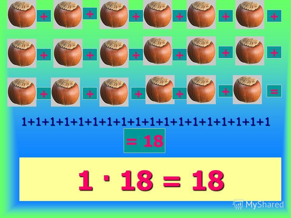 1 · 18 = 18 1+1+1+1+1+1+1+1+1+1+1+1+1+1+1+1+1+1 + + ++++ ++ + + + +++ + ++ = = 18