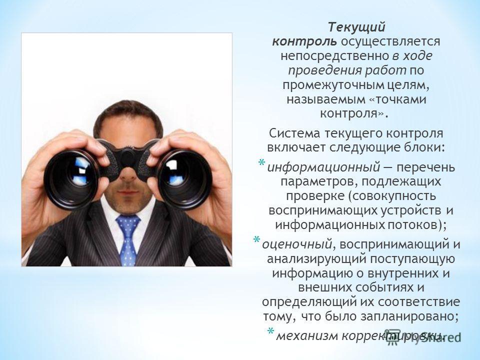 Текущий контроль осуществляется непосредственно в ходе проведения работ по промежуточным целям, называемым «точками контроля». Система текущего контроля включает следующие блоки: * информационный перечень параметров, подлежащих проверке (совокупность